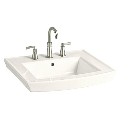KOHLER K-2358-8-96 Archer Pedestal Bathroom Sink Basin with 8-Inch Centers, Biscuit