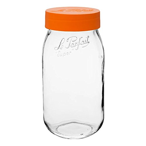 (3 Le Parfait Screw Top Jars - Wide Mouth French Glass Preserving Jars - Zero Waste Packaging (3, 2000ml - 64oz - Orange Lid) )