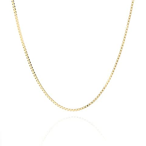 Lifetime Jewelry Box Chain 1.4 MM 24K Gold Over Semi-Precious Metals, Pendant Necklace Made Thin For Charms, Strong, Comes in Box or Pouch for Easy Gift Giving, 20 (Men Gold Over Silver Chain)