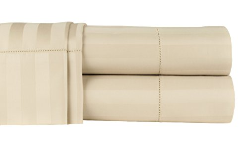 500 Thread Count 100% Extra-Long Staple Cotton Sheet Set, Queen Sheets, Damask Stripe Hemstitch Luxury Bedding, Queen Sheets 4 Piece Set ,Smooth Sateen Weave, Beige, by Threadmill Home Linen