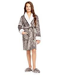 Girls Plush Sleep Robe & Slippers Set | Foil Hearts Fleece Bathrobe