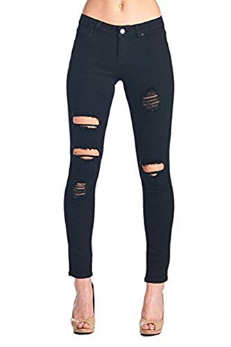 (Women's Hight Waisted Butt Lift Stretch Ripped Skinny Jeans Distressed Denim Pants (US 14, Black 15))