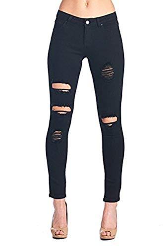 Women's Hight Waisted Butt Lift Stretch Ripped Skinny Jeans Distressed Denim Pants (US 2, Black 15) (Denim Lift Butt)