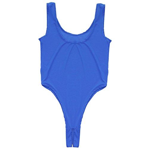 iEFiEL Damen Body Bodysuit Achselhemd Unterhemd Dessous Lingerie Nachtwäsche Reizwäsche Offener Schritt Blau hMCd5