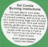 Gel Candle Burning Instruction Labels per (Candle Embed)