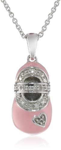 Sterling Silver Diamond Accent Pink Enamel Shoe Charm Pendant Necklace, 18