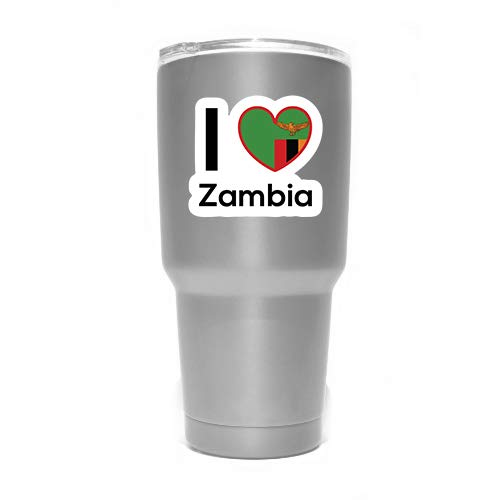 Two 3 Inch Decals MKS0313 Love Zambia Flag Decal Sticker Home Pride Travel Car Truck Van Bumper Window Laptop Cup Wall
