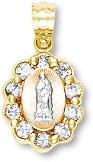 14 Carat Trois Couleurs Or Dame de Guadalupe Pendentif