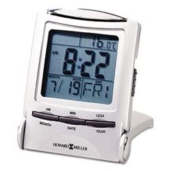 Howard Miller 645358 Distant Time Traveler Alarm Clock, 2-1/4, Silver, 1 AAA (incl)