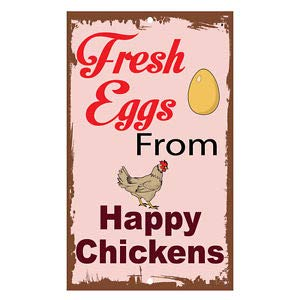 KARPP Fresh Eggs from Happy Chickens Novelty Funny Metal Sign 8 in x 12 in Business, Nostalgic, Retro, Vintage and Funny Signs