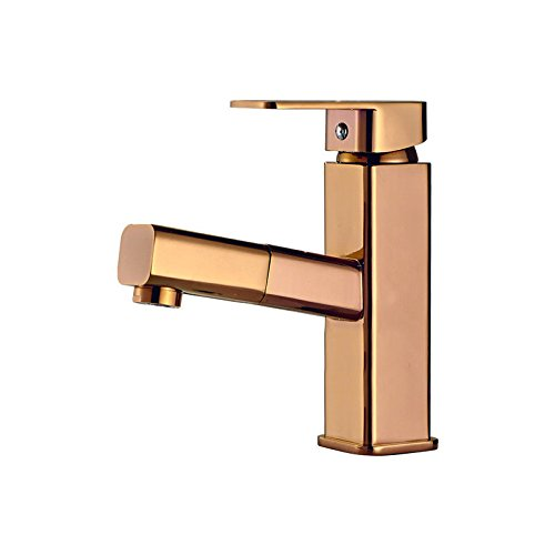 LHbox Basin Mixer Tap Bathroom Sink Faucet Basin faucet bathroom full copper double hole hot and cold drawn-down-Round 1.80 pink gold