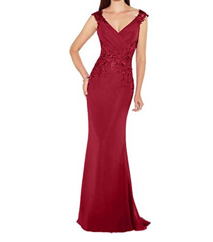 Rot Festlichkleider Abendkleider Ausschnitt V Brautmutterkleider Etuikleider Damen Lang Charmant Promkleider avw7PxqzSn