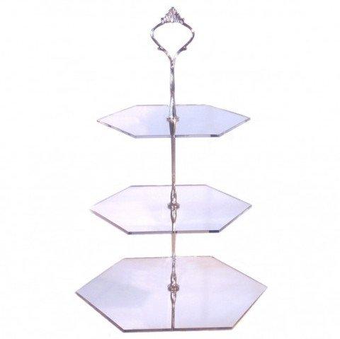 Three Tier Hexagon Cake Stand - Mirrored