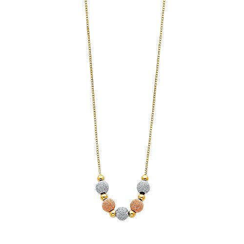 14k Tri-Color Gold Fancy Light Ball Beads Charm Hanging With 17