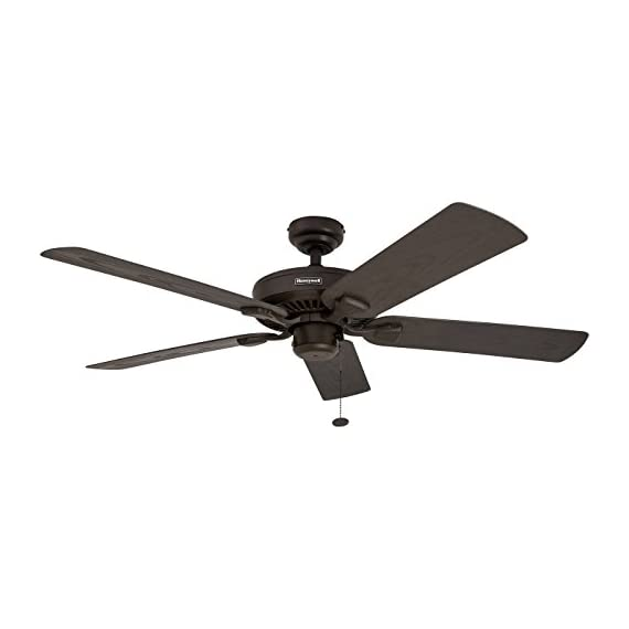 """Honeywell Belmar 52"""" Outdoor Ceiling Fan 1 QUALITY DESIGN: Features a bronze finish and 5 ETL damp rated fan blades. Perfect for outdoor patios, workshops, breezeways, gazebos, pergolas and other outdoor spaces. EASY CONTROLS: Traditional pull chains included for easy """"on and off"""" adjustments but this fan is also compatible with Honeywell ceiling fan remotes. QUIET REVERSIBLE MOTOR: Conveniently quiet, 3 speed, reversible motor that can be run in reverse in the winter to aid in rotating the warm air in the room."""