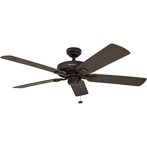 - Honeywell Belmar 52-Inch Indoor/Outdoor Ceiling Fan, Five Damp Rated Fan Blades, Bronze