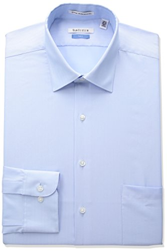 Van Heusen Men's Big Herringbone Tall Fit Solid Spread Collar Dress Shirt, Blue Cloud, 20