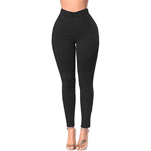 Romacci Femmes Skinny Jeans Denim Taille Haute lastique Lav Ruch Skinny Crayon Pantalons Collants Leggings Noir
