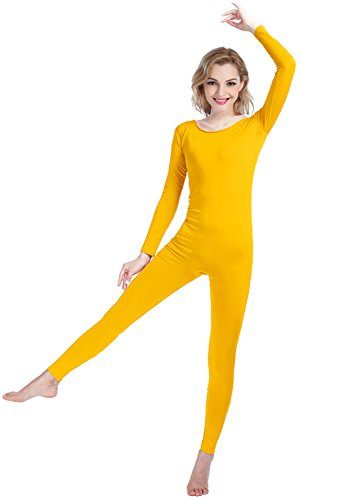 Girls Womens Well-Fit Spandex Lycra Bodysuit Long Sleeve Scoop Neckline Footless Unitard (XS, Yellow)