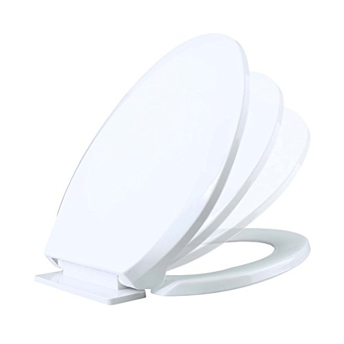 No Slam Toilet Seat Easy Close White Plastic Elongated Comfortable Ergonomic Design Slow Closing Lid System Quiet Durable High Impact Plastic Resists Staining And Cracking Easy Clean Easy Install Lid - Lid Slow Close Toilet