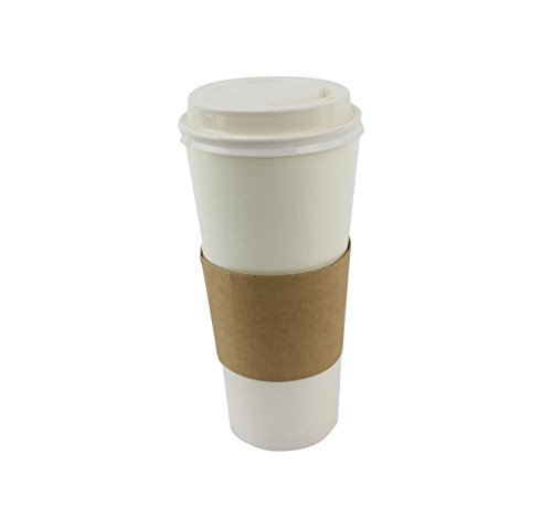 50 Sets Coffee Cups Disposable with Lids & Sleeves Hot Coffee Cups with Lids & Sleeve Holders (24oz)