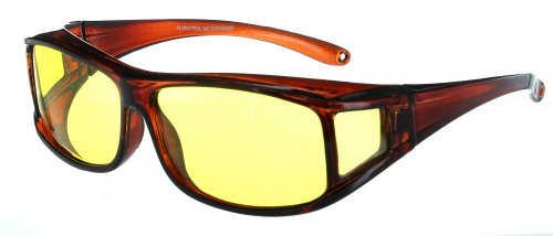 Fiore® Polarized Fit Over Sunglasses (Polarized Night Driving - Brown Frame)