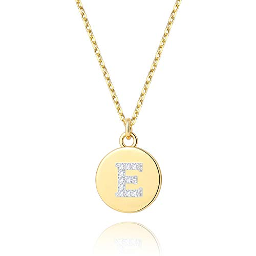 BOUTIQUELOVIN 14K Gold Initial Necklace Cute Disc Personalized Alphabet E Letter Pendant Jewelry Gifts for Women Girls (Gold Initial Disc Pendant)