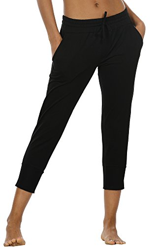 icyzone Women's Active Joggers Sweatpants - Athletic Yoga Lounge Capris with Pockets(S, Black) ()
