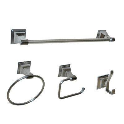 (Arista Bath Products Leonard Series 4-Piece Bathroom Accessory Set, Satin Nickel)