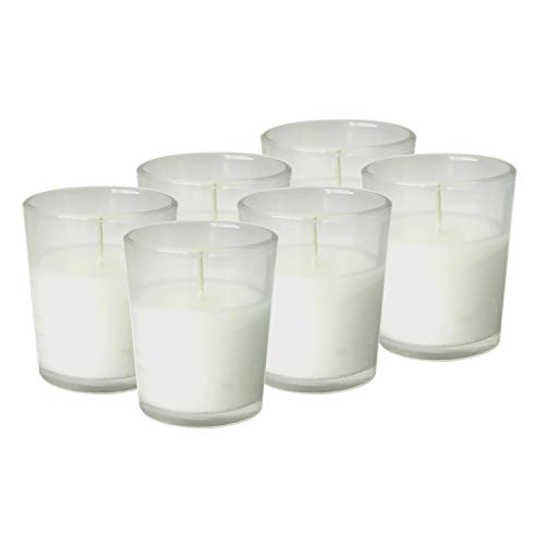 Simply Soson 48 Unscented Votive Candles in Glass | Wax Filled White Candles in Glass | 15 Hour Burn Time Votive Candles Bulk | Improved Packaging (48 Pack) Code 2274 ()