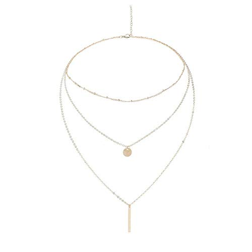 (XINHUXIN Coin Cross Pendant Layered Necklace Choker Whit Exquisite Crescent Gold Necklace for Women Lady Girls Gift Jewelry)