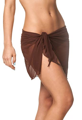 Coqueta Mesh Cover up Swimwear Beach Sarong Pareo Canga Swimsuit Wrap BROWN-O/S