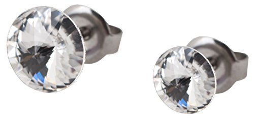 galaxyjewelry CRYSTAL White Titanium Post Earring Stud, No Allergic Reaction/8mm & 6mm