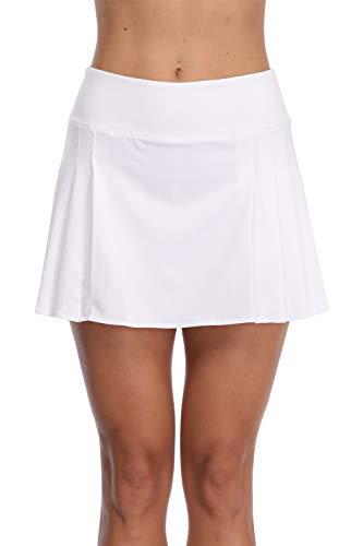 (32e-SANERYI Women's Pleated Elastic Quick-Drying Tennis Skirt with Shorts Running Skort-WS White)