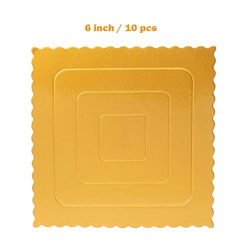 (Set of 10 Square Cake Board, Gold Cake Stands Cardboard Scalloped Cake Circle Base,6 Inch)