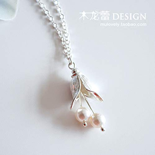 Libaraba Silver Plated Copper Imitation Pearl Lily of The Valley Flower Pendant Necklace with Jewelry Box,Lily of The Valley Necklace for Women (Silver) (Pearl Lily Necklace)