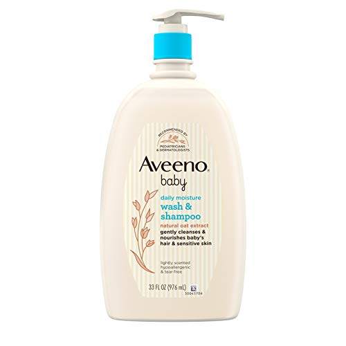 Aveeno Baby Daily Moisture Gentle Bath Wash & Shampoo with Natural Oat Extract, Hypoallergenic, Tear-Free & Paraben-Free…