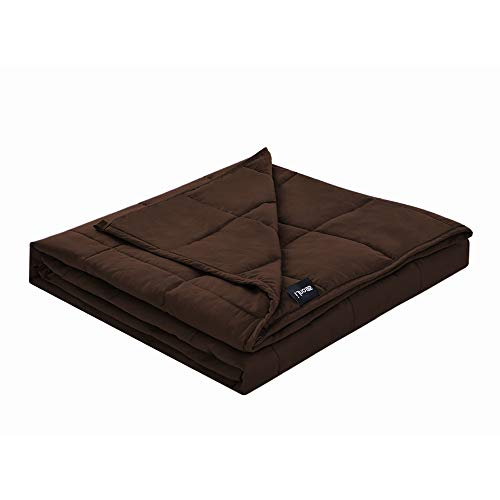 ZonLi Premium Weighted Blanket (60x80, 20lbs for 170-230 lbs Individual, Brown) for Adults Women, Men, Children | Premium Cotton with Glass Beads