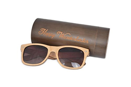 HappyWanderluster Polarized Wooden Sunglasses for Men & Women,Wayfarer For Summer And - Skateboard Glasses