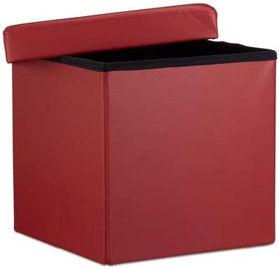 Relaxdays Folding Ottoman 38 x 38 x 38 cm Sturdy Storage Chair Pouf and Footstool, Faux Leather Box, Removable Lid, Dark Red Dark Red