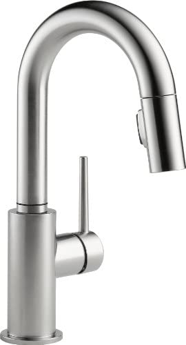 Delta Faucet Trinsic Single-Handle Bar-Prep Kitchen Sink FaucetPull Down Sprayer and Magnetic Docking Spray Head Arctic Stainless 9959-AR-DST