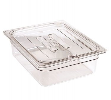 Cambro 30CWCHN135 Camwear 1/3 Size Clear Handled Lid with Spoon Notch by Cambro