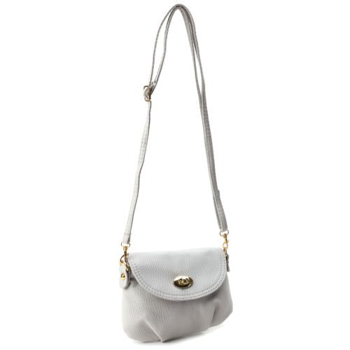 The Pecan Man Light Grey Crossbody Shoulder Small Satchel Leather Handbag Messenger Totes ()