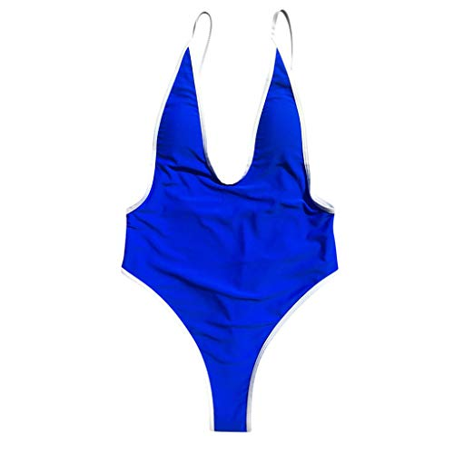 Zimuuy Damen Bikini Einteiler V Ausschnitt Tanga Monokini Badeanzug Bademode Tankini