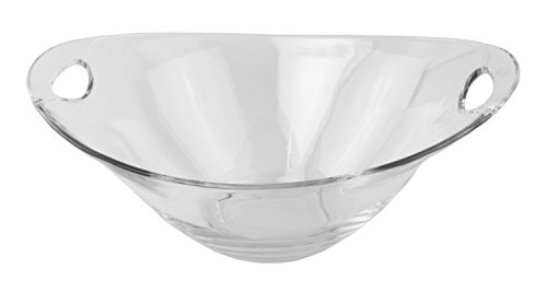 Clear Glass Salad Serving/Mixing Bowl with Handles, Large - 13