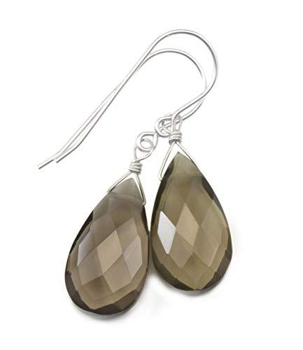 Sterling Silver Smoky Quartz Earrings Faceted Teardrops Simple Brown Grey Smokey Dangle Drops