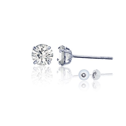 14K White Gold 4mm Round White Sapphire Stud Earring by Decadence