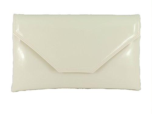 Loni Womens Stylish Large Envelope Patent Clutch Bag/Shoulder Bag Wedding Party Prom Bag In (White Patent Bag)