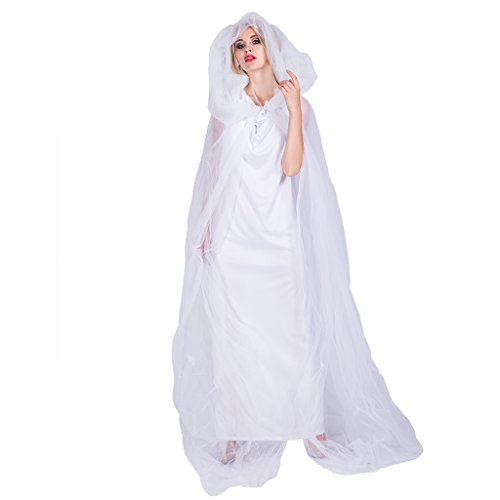 EraSpooky Women's Ghost Costume Bride White Hooded Cape Cloak Adult Costume - Funny Cosplay Party