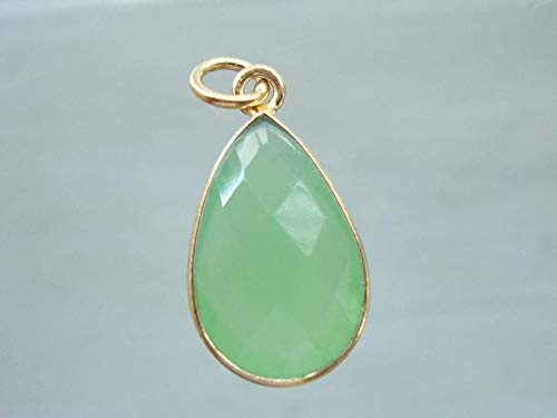 - Prehnite Chalcedony Bezel Set Pear Teardrop Gold Vermeil Pendant, Checker Board Cut Prehnite Green Gold Pendant, 23x11mm